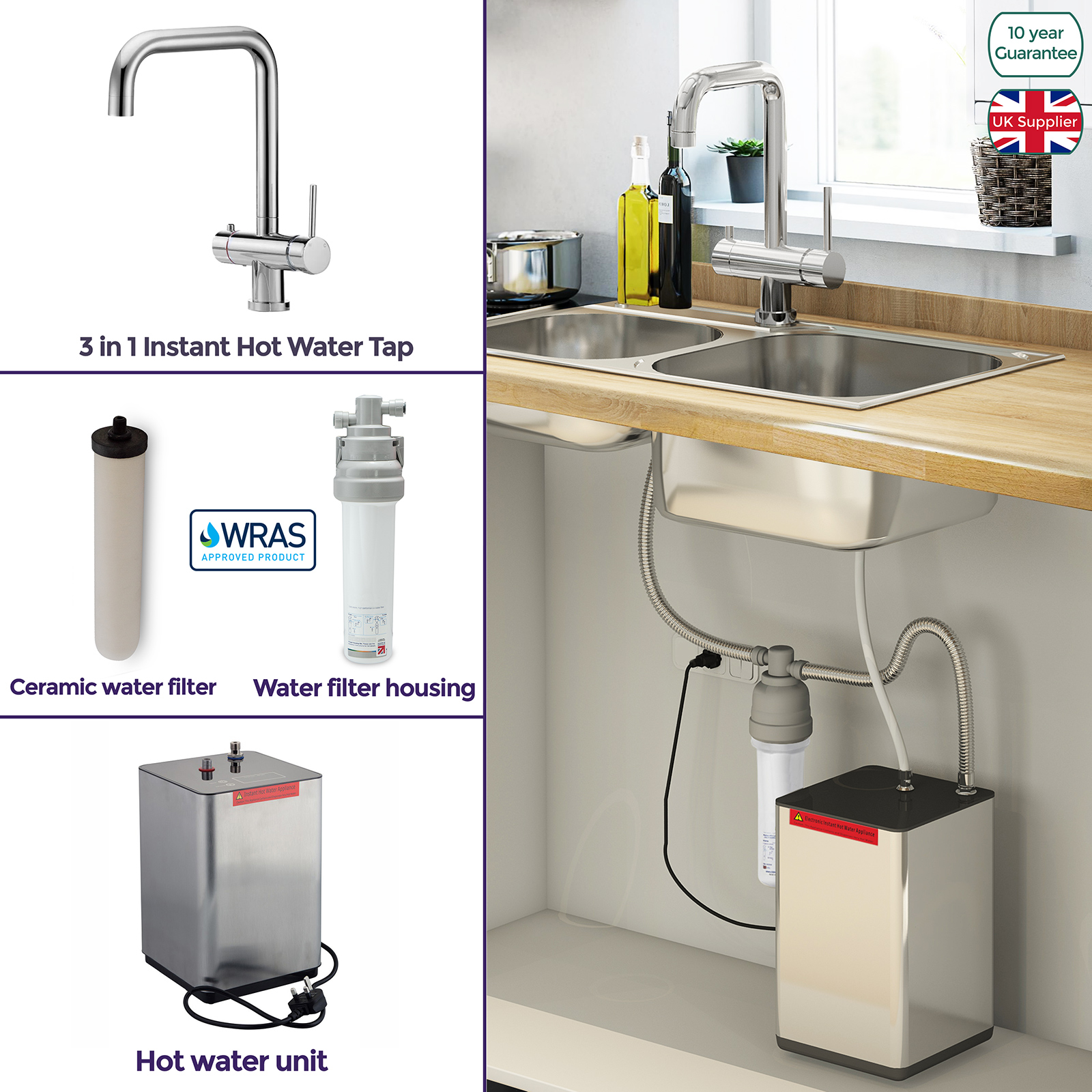 Details about NES HOME INSTANT HOT BOILING & COLD WATER KITCHEN FILTER TAP  3 IN 1 HEATING UNIT