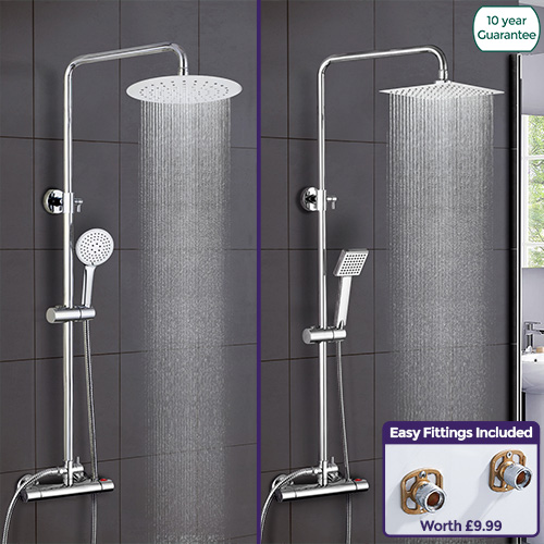 Rosa Thermostatic Exposed Shower Mixer Bathroom Twin Head Round ...